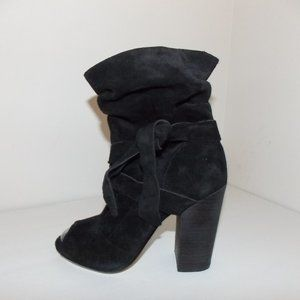 Nine West black suede open-toed booties size 5M